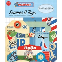 Carta Bella Passport Cardstock Diecuts Ephemera Frames & Tags 33pc