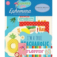 Carta Bella Summer Splash Ephemera Cardstock Diecuts Icons 33pc