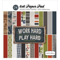 "Carta Bella 6x6"" Double Sided Paper Pad Work Hard / Play Hard 24pg"