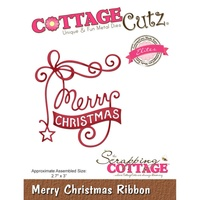 CottageCutz Elites Die Merry Christmas Ribbon