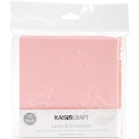 "Kaisercraft 5.5x5.5"" Square Cards with Envelopes Baby Pink 10pk"