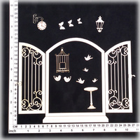 Scrapmatts Chipboard Shapes Window 03  1 set + 13pc