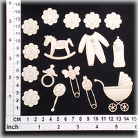 Scrapmatts Chipboard Shapes Baby Boy 01   16pc