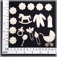 Scrapmatts Chipboard Shapes Baby Girl 02  16pc