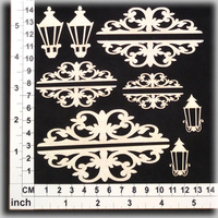 Scrapmatts Chipboard Shapes Ornate Toppers 01  8 Tops + 4 Lamps