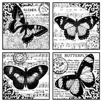 Crafty Individuals Unmounted Rubber Stamp 4 Beautiful Butterflies