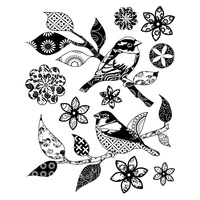Crafty individuals Unmounted Rubber Stamp Patchwork Birds & Flowers