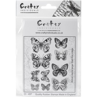 Craft Individiuals Unmounted Rubber Stamp Butterfly Pairs Postive and Negative