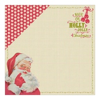 "Authentique 12x12"" Cardstock Classic Christmas One Santa Border & Jingle Bells"