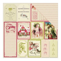 "Authentique 12x12"" Cardstock Classic Christmas Twelve Wish List Tags & Red Writing Stripe"