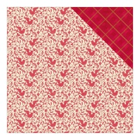 "Authentique 12x12"" Cardstock Classic Christmas Four Red Doves & Red Plaid w/ Green"