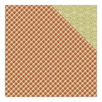 "Authentique 12x12"" Cardstock Classic Christmas Nine Red, Green,Cream Gingham & Damask"