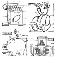 Stampers Anonymous Cling Stamp Childhood Blueprint by Tim Holtz