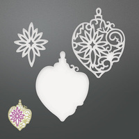Couture Creations Die Be Merry Damask Layered Baubles Set