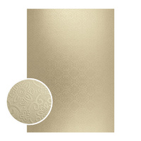 Couture Creations Mirror Foil Board A4 Matte Gold Damask 10pk