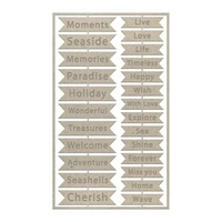 Couture Creations Seaside & Me Chipboard Set Seaside Sentiments 25pc