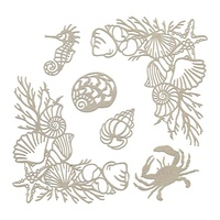 Couture Creations Seaside & Me Chipboard Set Seafloor Corners & Silhouettes