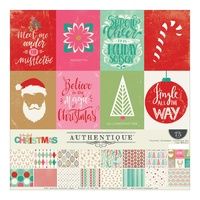 "Authentique 12x12"" Collection Kit Colorful Christmas 17pc"