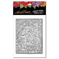 "Stampendous Cling Stamp 6.5x4.5"" Peace Moon"