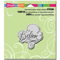 "Stampendous Cling Stamp 4.75x4.5"" Believe Scrolls"