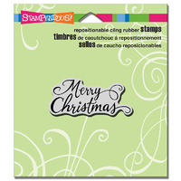"Stampendous Cling Stamp 4.75x4.5"" Merry Scrolls"