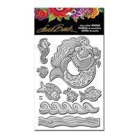 Stampendous Cling Stamp Mermaid Fish with Template by Laurel Burch