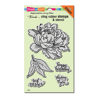 Stampendous Cling Rubber Stamp Fresh Peony with Bonus Stencil