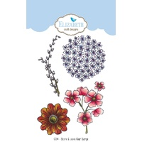 Elizabeth Craft Designs Clear Stamps Blooms & Leaves by Krista Schneider