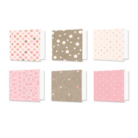 "Hunkydory Design Essentials Card Blanks with Envelopes 6x6"" Linen Polka Dots"