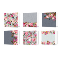 "Hunkydory Design Essentials Card Blanks with Envelopes 6x6"" Floral Watercolours"