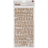 American Crafts Thickers Alpha Stickers DIY Eric Burlap Chipboard