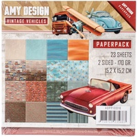 "Find It Trading Vintage Vehicles 6x6"" Paper Pack 23pg by Amy Design"