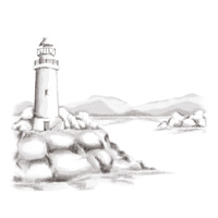 Spellbinders 3D Cling Stamp Lighthouse