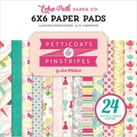 "Echo Park 6x6"" Double Sided Paper Pad Petticoats & Pinstripes Girl 24pg"