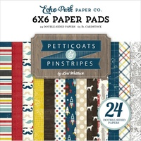 "Echo Park 6x6"" Double Sided Paper Pad Petticoats & Pinstripes Boy 24pg"