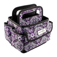 Everything Mary Desktop Organiser Tote Grape & Grey Print with Black Trim