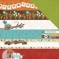 "Echo Park 12x12"" Double Sided Cardstock I Love Family Border Strips"
