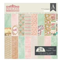 "Authentique 12x12"" Double Sided Cardstock Pad 24pg Imagine"