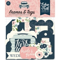 Echo Park Just Married Cardstock Diecuts Frames & Tags 33pc