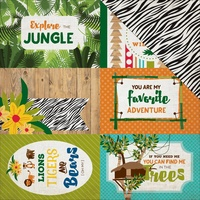 "Echo Park 12x12"" Double Sided Cardstock Jungle Safari Journaling Cards 4x6"""