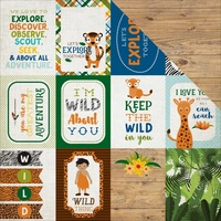 "Echo Park 12x12"" Double Sided Cardstock Jungle Safari Journaling Cards 3x4"""