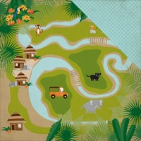 "Echo Park 12x12"" Double Sided Cardstock Jungle Safari Jungle Map"