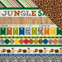 "Echo Park 12x12"" Double Sided Cardstock Jungle Safari Border Strips"