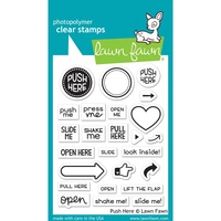 "Lawn Fawn Clear Stamp 3x4"" Push Here"