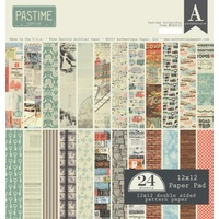 "Authentique 12x12"" Double Sided Cardstock Paper Pad Pastime 24pg"