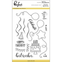 "Pinkfresh Studio Clear Stamp Set 4x6"" Let's Celebrate"