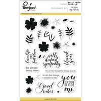 "Pinkfresh Studio Clear Stamp Set 4x6"" Say It With Florals"