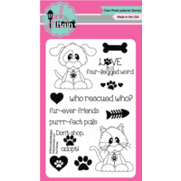 "Pink & Main Clear Stamp 4x6"" Fur Friends"