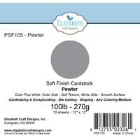 "Elizabeth Craft Designs Soft Finish Cardstock 12x12"" 10pk Pewter"