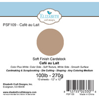 "Elizabeth Craft Designs Soft Finish Cardstock 12x12"" 10pk Cafe au Lait"